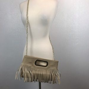 ❤️ Charming Charlie Cream Fringe Vegan Leather Bag